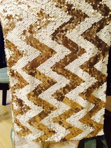 Champagne And White Chevron Sequins Runner