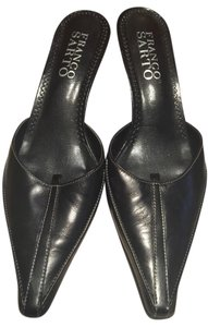 Franco Sarto Black w White Stiching Mules