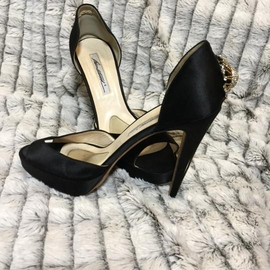 Brian Atwood Jeweled Open Toe black Pumps
