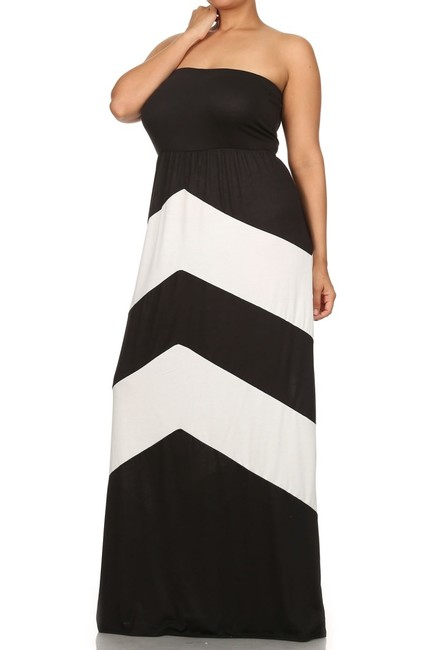Maxi Dress by Other Maxi Chevron Strapless Plus-size Comfortable