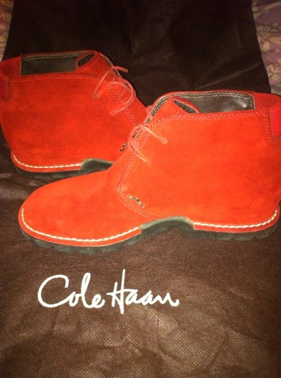 Cole Haan Low Flat Leather New With Tags Red Boots