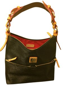 Dooney & Bourke Leather Gold Hardware Tan Handles Feets On Bottom Adjustable Hand Straps Shoulder Bag