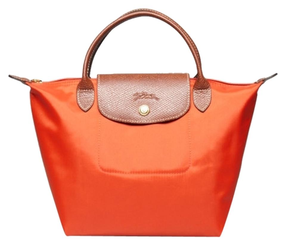 6dc420c10bf9 Longchamp Le Pliage Small Mini Orange Nylon Tote - Tradesy