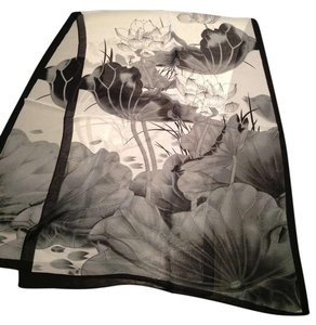 Gorgeous scarf Brand New Gorgeous black multi lotus ink painting light weight scarf
