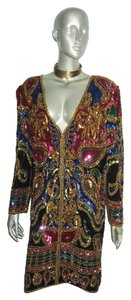 Joseph Le Bon Vintage Dress Sequins Beads Trophy Multicolor Jacket