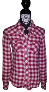 True Religion Button Down Shirt Red Plaid