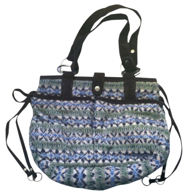 Item - Aeo Fair Isle Handbag Blue Grey & Green Wool Shoulder Bag