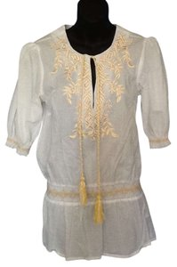 White Diamonds Yellow Embroidery Tunic