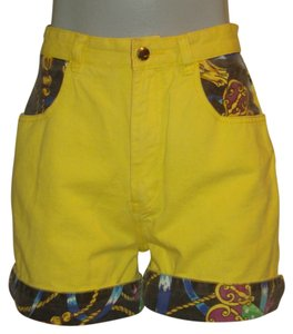 Damage Cuffed Shorts Yellow