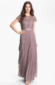 Adrianna Papell Buff/Plummy Taupe Layered Chiffon And Lace Gown Dress