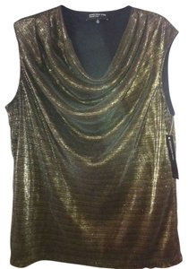 Jones New York Pullover Festive Top Gold/ Black