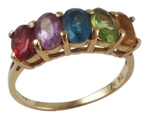 Gorgeous 14k Yellow Gold & 1.27ct Multi-Color Oval Cut Gemstone Band Ring