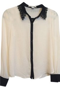 Forever 21 21 Size S White Black Lace Button Down Shirt Black/White