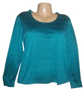 Chico's Stretchy Metallic Striped Top Blue