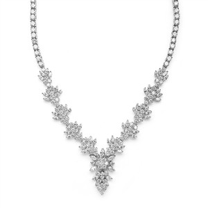 Mariell Silver Top Selling Marquis Cz Cluster Or Pageant 4239n Necklace