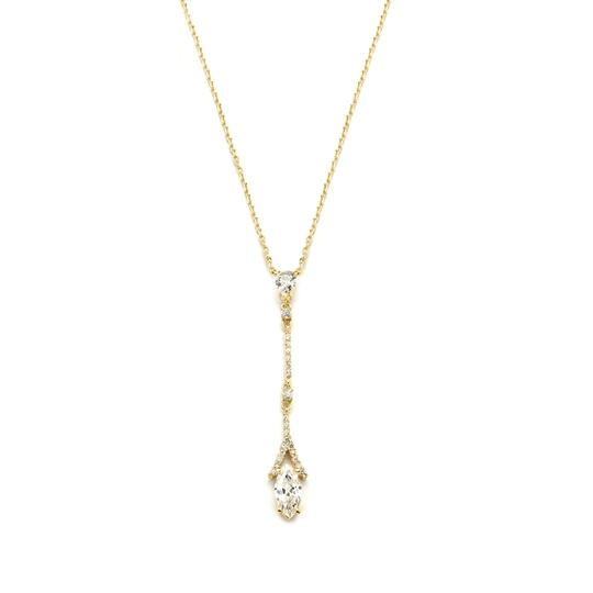 Mariell Gold Graceful Linear Cubic Zirconia Prom 4094n Necklace