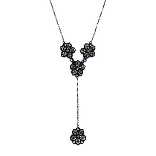 """Mariell Black Popular Diamond Filigree Flower """"Y"""" For Prom Or Bride Necklace"""