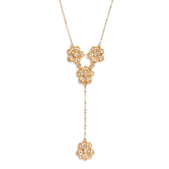 """Mariell Popular Crystal Gold Filigree Flowers """"y"""" Necklace For Prom Brides Or Bridesmaids 4301n-cr-g"""
