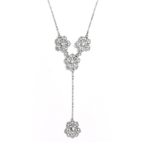 "Mariell Silver Popular Crystal Filigree Flowers ""Y"" For Prom Or Necklace"
