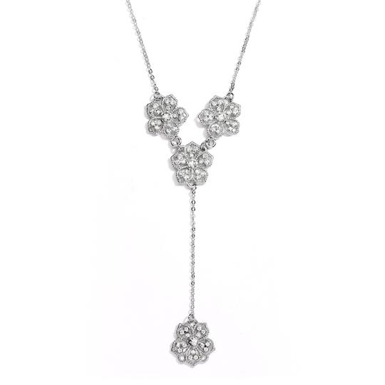 "Mariell Popular Crystal Filigree Flowers ""y"" Necklace For Prom Or Brides"