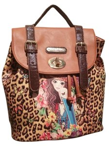 Nicole Lee Camel Leopard Backpack