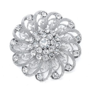 Mariell Crystal Pin With Filigree Spirals 3174p