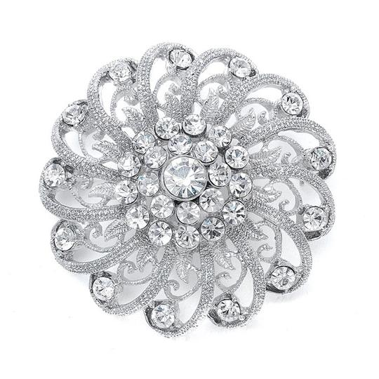 Mariell Silver Crystal with Filigree Spirals 3174p Brooch/Pin
