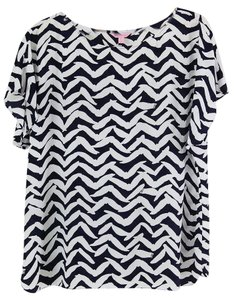 Lilly Pulitzer Silk 100% Silk Silk Top Navy and white