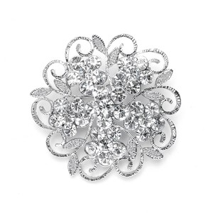 Mariell Silver Filigree Crystal Flower Or Prom 3726p Brooch/Pin