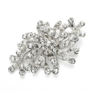 Mariell Budding Crystal Blossoms Silver Wedding Pin 3718p-s