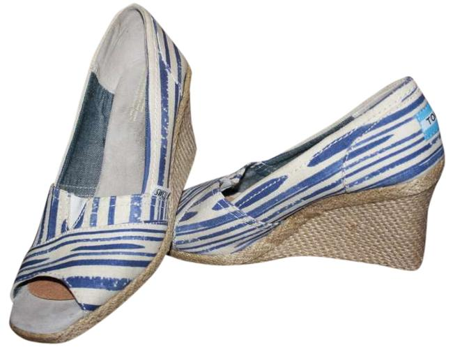 Item - Blue Stripe and Ivory Canvas Wedges Size US 8.5
