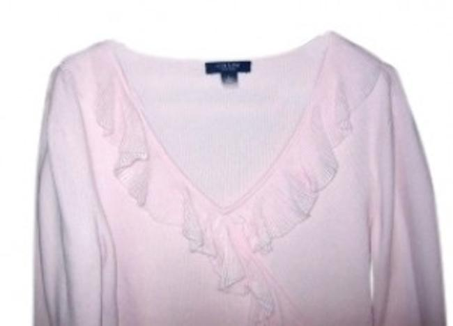 Preload https://item1.tradesy.com/images/chaps-pink-34-sleeve-ruffled-sweaterpullover-size-12-l-35385-0-0.jpg?width=400&height=650