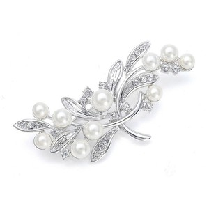 Mariell Silver/Pearl With Cz Leaves 3161p Brooch/Pin
