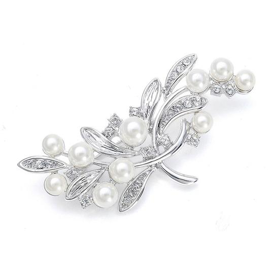 Mariell Pearl Bridal Brooch With Cz Leaves 3161p