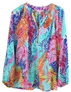Lilly Pulitzer 100silk 100% Silk Silk Elsa Top multi-color