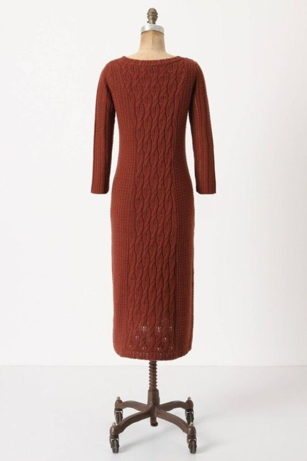 Rust Maxi Dress by Anthropologie Cable Sweater
