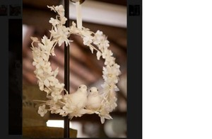 Martha Stewart White Pair (Qty 2) Dove Wreaths Ceremony Decoration