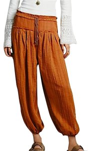 Free People Slit Summer Casual Gauze Cotton Sheer Elastic Brown Mustard Yellow Beach Relaxed Pants Amber