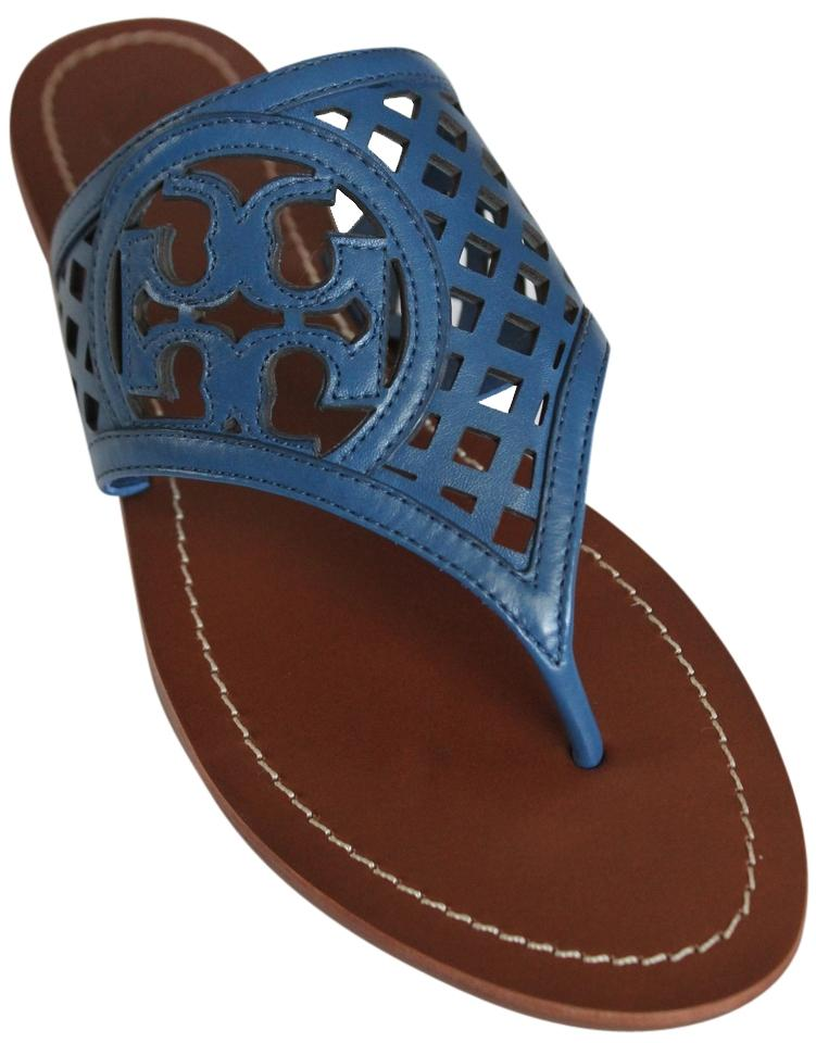 815de091c542c8 Tory Burch Greek Blue 473 Thatched Perforated Leather Thong Flip ...
