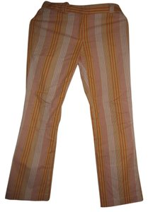 Campaigne Striped Straight Pants Orange, yellow, white, pink