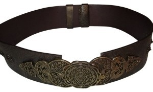 Chico's Chico's Leather Belt with Bronze Filigree Buckle