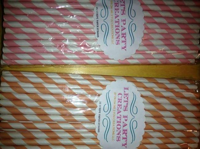 Item - Pink/Peach Striped Paper Straws-country Fair Style/Rustic/Vintage