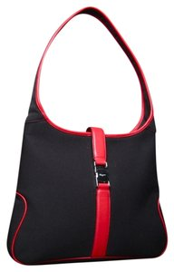 Salvatore Ferragamo Canvas Leather Hobo Shoulder Bag