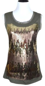 Studio Y Sequin Sparkle Tulle Trimmed Top olive green & gold