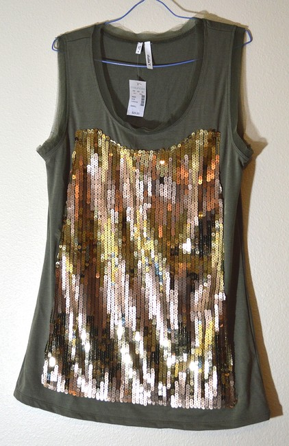 Studio Y Sequin Sparkle Tulle Trimmed 17479106 Sleeveless Top olive green & gold