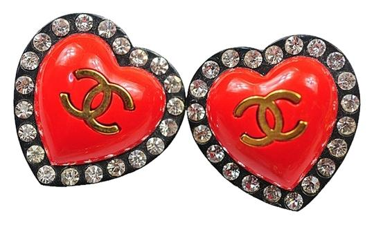 Chanel Authentic SUPER RARE Crystal CC Red Resin Heart Vintage Earrings Excellent Condition