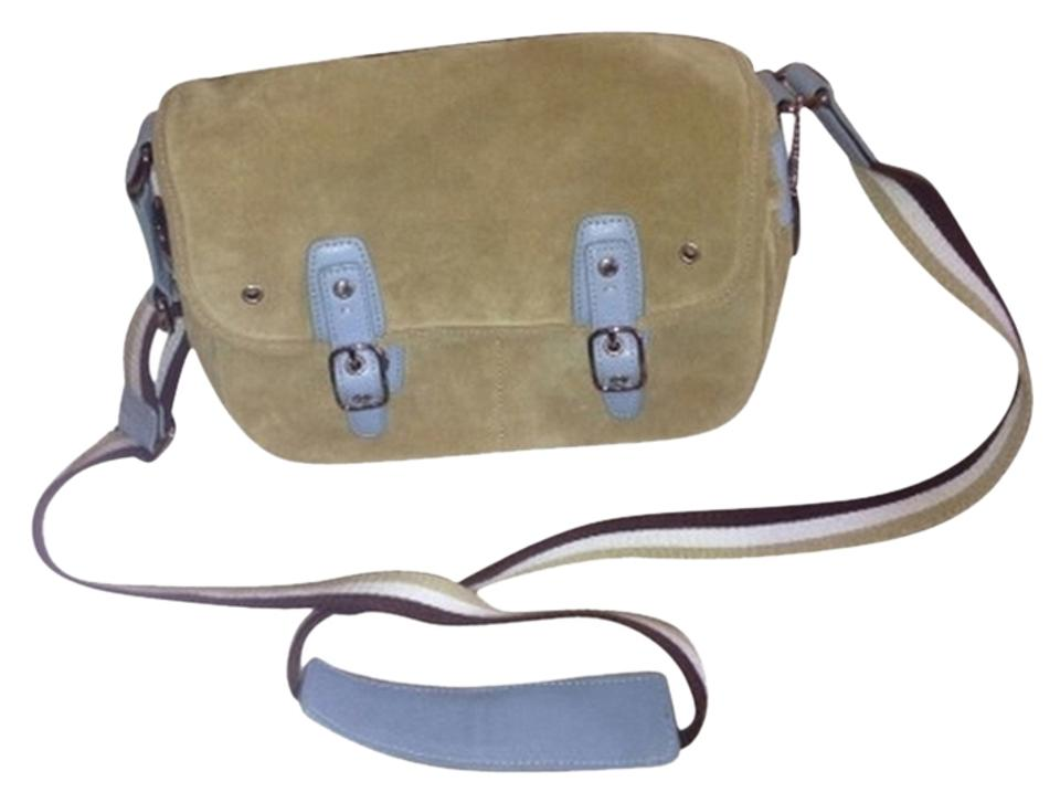 ee91100f1a97 Coach Light Blue and Tan Suede Leather Cross Body Bag - Tradesy