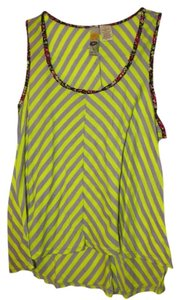 Mimi Chica Striped Top Neon yellow