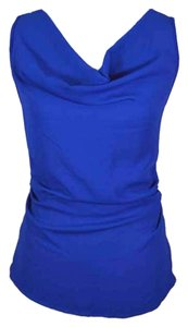 Studio Y Bright Sleeveless Tank Tank Chiffon Drape Draped Gathered Small Top blue