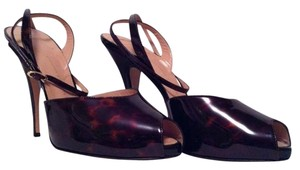 Giuseppe Zanotti Ankle Strap Tortoise Print Patent Leather Elegant Brown and Black Pumps